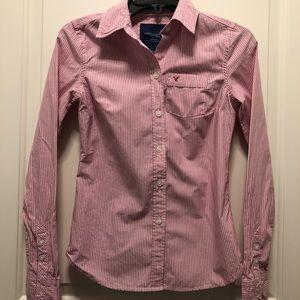 American Eagle Pink White Stripes Shirt 00